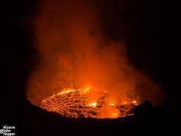 Fiery Lava Lake of Nyiragongo Volcano, Congo DR