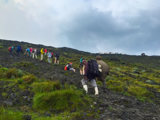 The steep last leg of the Nyiragongo volcano trek-