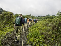 Crossing the lava fields of Mt Nyiragongo, Congo DR