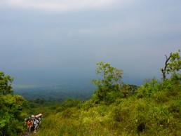 Climbing through lava fields of Nyiragongo, Congo DR