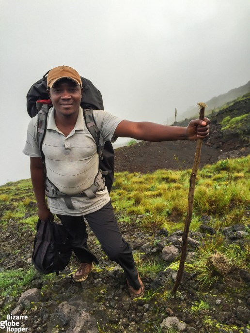 Our loyal porter during the Nyiragongo volcano trek, Congo DR