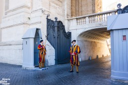 The funny uniforms of the Swiss guards of Vatican