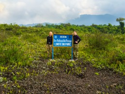 At the gate of Virunga National Park just before our Nyiragongo trek