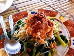Gado-gado, a gorgeous vegetarian dish with peanut sauce, at Gili Meno