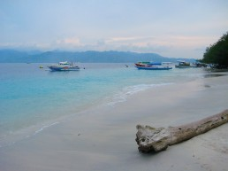 The main beach of Gili Trawangan just before sunset