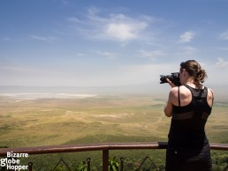 Photographing Ngorongoro Crater from the viewpoint