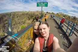 Piritta and Niina at Victoria Falls Bridge, Zambia
