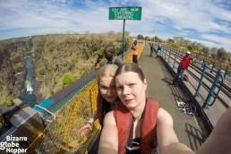 Piritta and Niina at Victoria Falls Bridge, Zambia