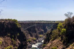 The Victoria Falls Bridge seen from Livingstone, Zambia