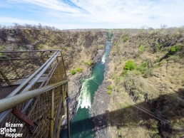 A view from the bungee platform of the Victoria Falls Bridge, Zambia