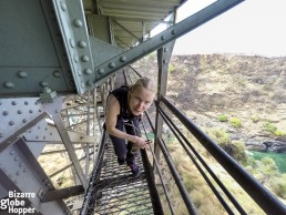 Walking in the structures of the Victoria Falls Bridge, Zambia