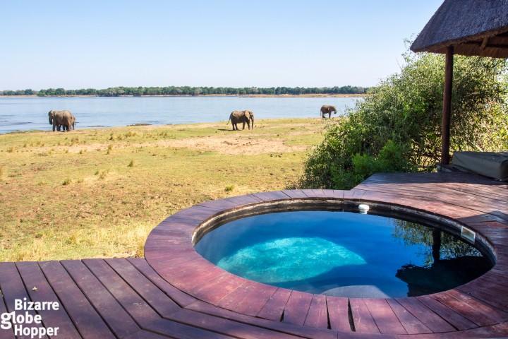 View towards Zambezi River from the private pool of Royal Zambezi Lodge