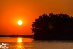Sunset cruise on Zambezi River, Zambia