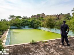 Swimming pool ruins of Idi Amin's Pakuba Lodge in Murchison Falls National Park, Uganda.