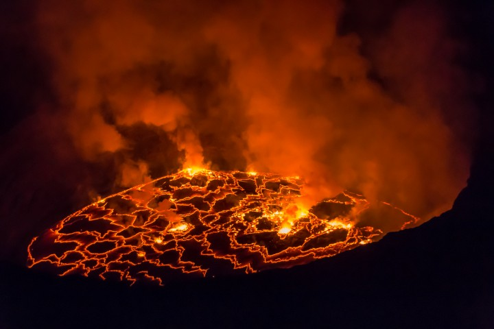 The boiling lava caldera of the Nyiragongo volcano in the Democratic Republic of Congo