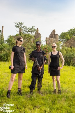 Exploring the ruins of Pakuba Lodge with an armed ranger