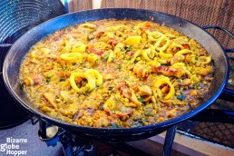 Valencian paella with rabbit and seafood