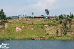 Traditional wooden boats sailing on Lake Kivu