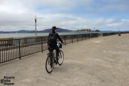 Biking through Marina, Alcatraz on the horizon