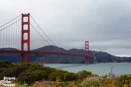 View to the Golden Gate Bridge from the bike route