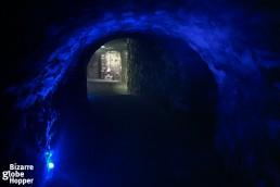 A cave hallway inside the Buda Labyrinth.