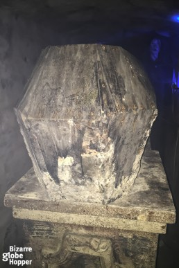 A coffin in Buda Labyrinth in Budapest.