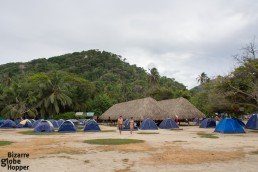 The camping ground of Cabo San Juan has views to Pueblito and the best beach in Tayrona National Park