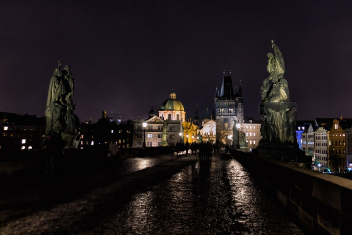 Charles Bridge at night in Prague, Czech Republic.