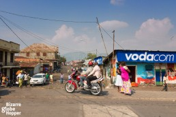 A moto-taxi is a popular way to get around in Goma, DRC.