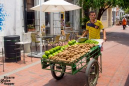 Fruit cart circlling the colorful streets of Santa Marta