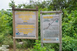 These signs show the starting point of the path leading from Cabo San Juan to Pueblito ruins