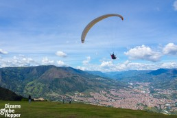 Paragliding upon the hills of Medellín, Colombia