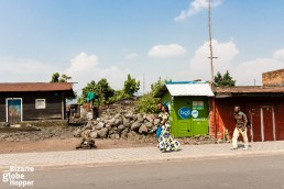 A couple walking in the street in Goma, Democratic Republic of the Congo.