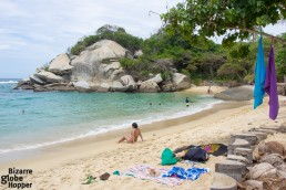 Massive boulders protect the beach of Cabo San Juan in Tayrona National Park