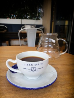 Sipping prime Colombian specialty coffee in Libertario Café, Bogotá
