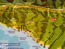 Map showing the hiking routes of Tayrona National Park. Doesn't it resemble old board games?