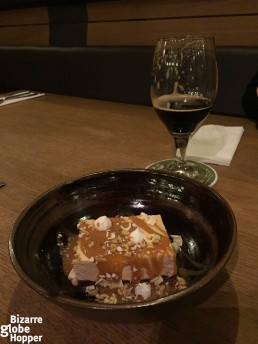 Enjoying espresso cheese cake with Czech stout in Nota Bene, Prague