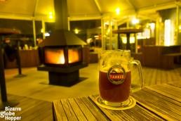 Enjoying the warm winter terrace of T-Anker, Prague