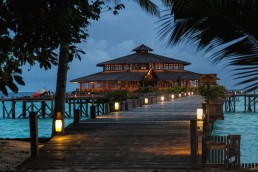 The main building of Lankayan Island Dive Resort in its evening gown