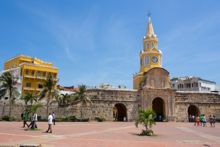 The gate to the walled, old city of Cartagena, Colombia