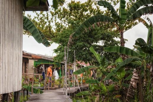 A local village at the Kinabatangan River in Malaysian Borneo.