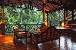 The relaxing lounge area of Borneo Rainforest Lodge