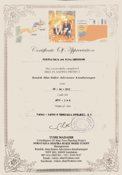 Our Tree Planting Certificate of our participation to the project at the Kinabatangan River in Borneo.