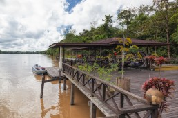 A beautiful view from the Abai Lodge's deck to the Kinabatangan River in Borneo