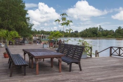 A view from the Kinabatangan Riverside Lodge's deck in Borneo