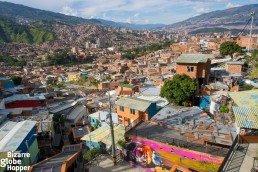 View towards the city center of Medellín from the top of escaleras electricas, Comuna 13
