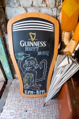 Spend the happy hour sipping Guinness iunder the red lanterns in Kuching's Drunk Monkey, Malaysia