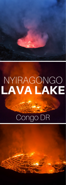 Fiery Nyiragongo Lava Lake astonishes the rare visitors, who dare climb on top of the active Nyiragongo volcano in the Democratic Republic of the Congo.