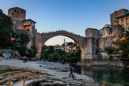 Mostar's Old Bridge in Bosnia and Hertzegovina seen from below