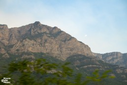 Mountain range as seen from restaurant car's window on our journey from Sarajevo to Mostar by Talgo train